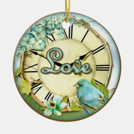 timeless bluebird whimsy LOVE Ceramic Ornament