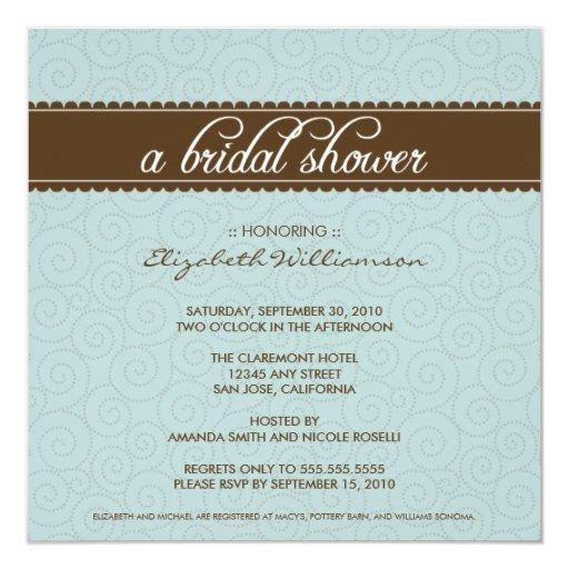 Timeless Bridal Shower Invite (aqua/chocolate)
