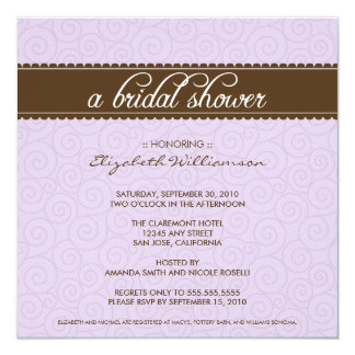Timeless Bridal Shower Invite (lilac/chocolate)