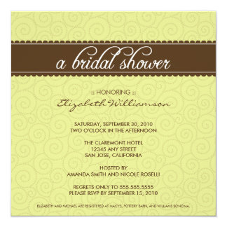 Timeless Bridal Shower Invite (lime/chocolate)