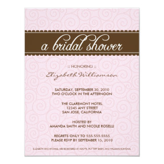 Timeless Bridal Shower Invite (pink/chocolate)