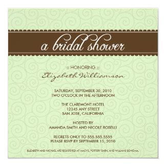 Timeless Bridal Shower Invite (sage/chocolate)