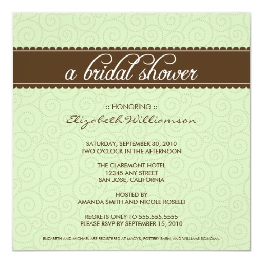 Timeless Bridal Shower Invite (sage/chocolate)