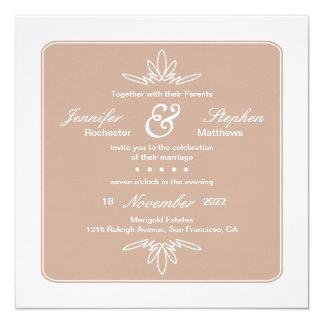 Timeless Charm Square Wedding Invitation - Dune