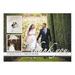 Timeless Chic Three Photo Wedding Thank You Card