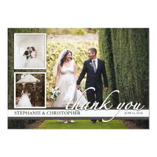 Timeless Chic Three Photo Wedding Thank You Card