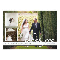 Timeless Chic Three Photo Wedding Thank You Invitation