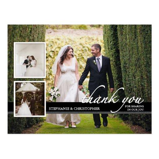 Timeless Chic Three Photo Wedding Thank You Postcards