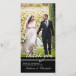 """Timeless Chic Wedding Thank You Three Photo Card<br><div class=""""desc"""">An elegant black and white design that features a full photo of the bride and groom and a personalized message on the front in a vertical format. Elegant black and white styling is timeless and classic.</div>"""