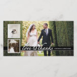 """Timeless Chic Wedding Thank You Three Photo Card<br><div class=""""desc"""">An elegant black and white design that features three wedding photos,  and a pretty white script stating the message of &quot;love &amp; thanks&quot; with the bride and groom&#39;s names along a black band. Elegant black and white styling is timeless and classic and a lovely keepsake for family and friends.</div>"""