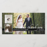 """Timeless Chic Wedding Thank You Three Photo Card<br><div class=""""desc"""">An elegant black and white design that features three wedding photos,  a personalized message of thanks,  and the bride and groom&#39;s names on the front.  Elegant black and white styling is timeless and classic and a lovely keepsake for family and friends.</div>"""