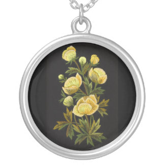 Timeless Globeflower Round Sterling Silver Necklac Round Pendant Necklace