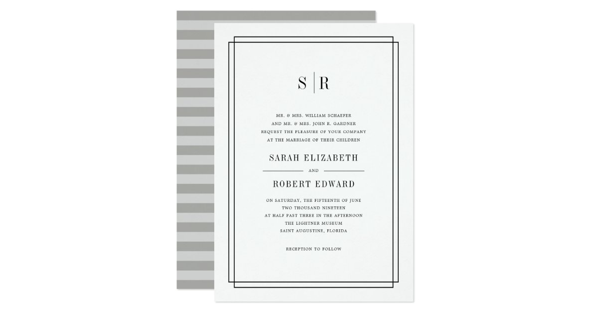 Timeless Monogram Wedding Invitation Zazzle Com
