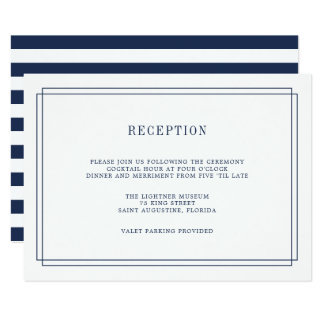 Timeless Navy and White Reception Card