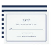 Timeless Navy and White RSVP Card