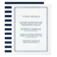 Timeless | Navy Wedding Guest Details Card