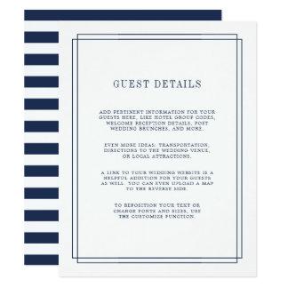 Timeless | Navy Wedding Guest Details Card