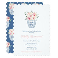 Timeless Pink and Chinoiserie Blue Wedding Shower Invitation