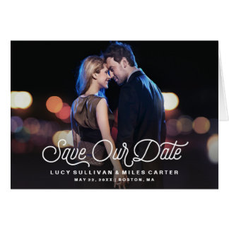 Timeless Script Save Our Date Photo Announcement
