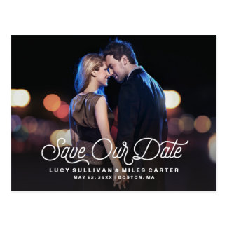 Timeless Script Save Our Date Photo Announcement Postcard