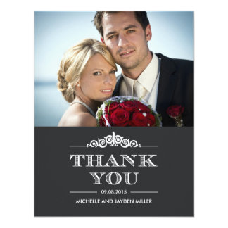 Timeless Sentiment Wedding Photo Thank You Card
