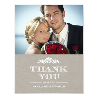 Timeless Sentiment Wedding Thank You - Linen Card