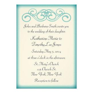 Timeless Teal Fairytale Scroll Wedding Cards