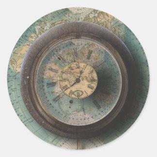 Timepiece World Map Steampunk Clocks Classic Round Sticker