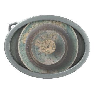 Timepiece World Map Steampunk Clocks Oval Belt Buckle