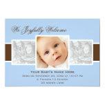 "Times 3 Birth Announcement (Blue) 5"" X 7"" Invitation Card"
