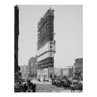Times Building Under Construction, New York: 1904 Poster