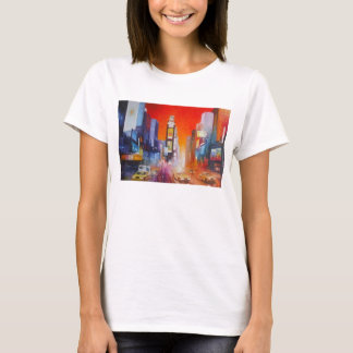 Times Square America Fitted White Tee Shirt