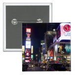 Times Square at night in Manhattan, New York Pinback Button