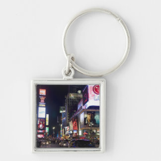 Times Square at night in Manhattan, New York Keychain