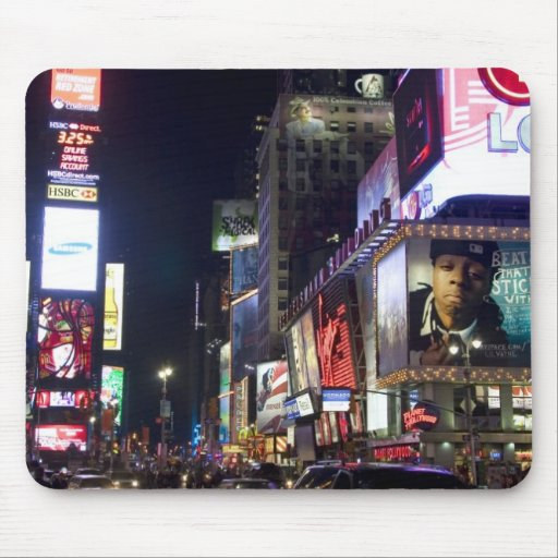 Times Square at night in Manhattan, New York Mouse Pad