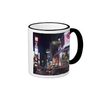 Times Square at night in Manhattan, New York Ringer Mug