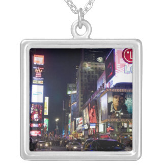 Times Square at night in Manhattan, New York Silver Plated Necklace
