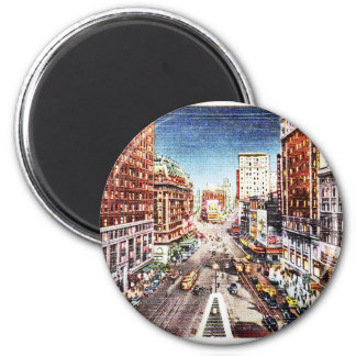 Times Square at Nigth Vintage Print 2 Inch Round Magnet