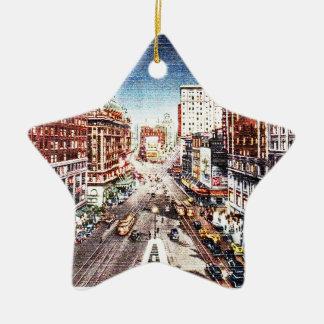 Times Square at Nigth Vintage Print Ceramic Ornament