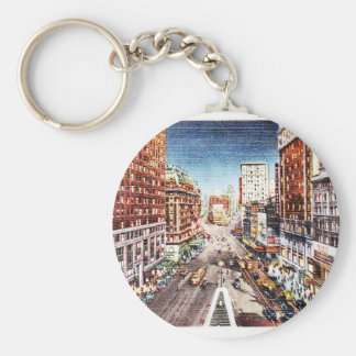 Times Square at Nigth Vintage Print Keychain