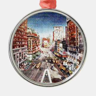 Times Square at Nigth Vintage Print Metal Ornament