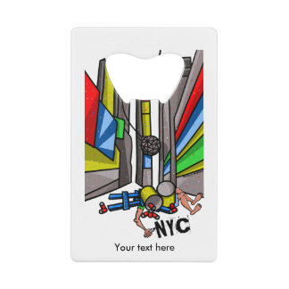 Times Square Ball Drop Funny Cartoon Credit Card Bottle Opener