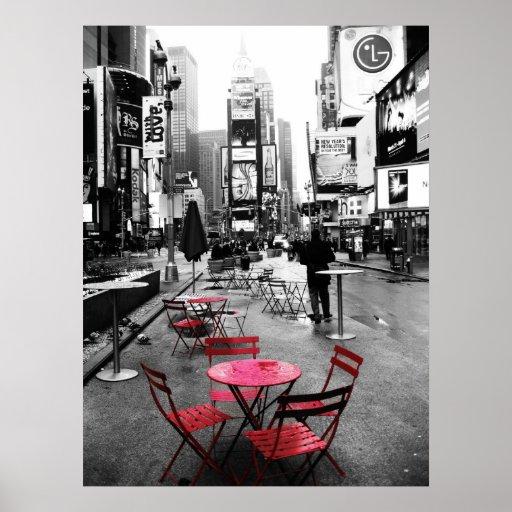 times square black white red poster. Black Bedroom Furniture Sets. Home Design Ideas