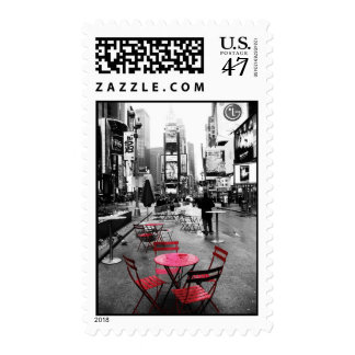 Times Square Black White Red Stamps