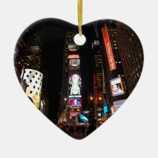 Times Square Double-Sided Heart Ceramic Christmas Ornament