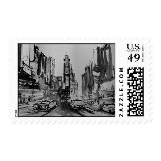 Times Square en franqueo blanco y negro