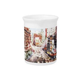 Times Square en la impresión del vintage de Nigth Jarra De Beber