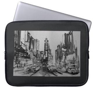 """Times Square en la manga blanco y negro 15"""" del or Funda Computadora"""