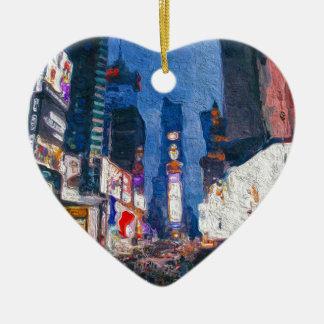 Times Square en la pintura de la noche Adorno Navideño De Cerámica En Forma De Corazón