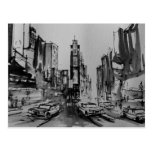Times Square en postal blanco y negro